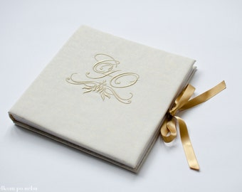 Embroidery Monogram Wedding Guest Book custom FREE SHIPPING