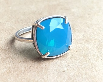 Caribbean Blue Opal Swarovski Crystal Ring in Antique Silver Vintage Cushion Square