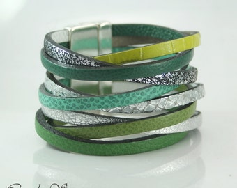 Green and silver leather Cuff Bracelet