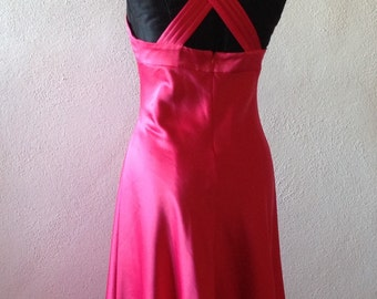 90s vintage dress//cocktail dress//Calvin klein evening dress//Calvin Klein dress//ceremonial dress//Shocking Pink dress