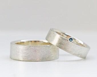 Wedding rings in silver & AQUAMARINE