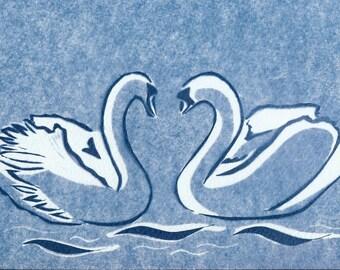 Swans-A-Swimming Cyanotype