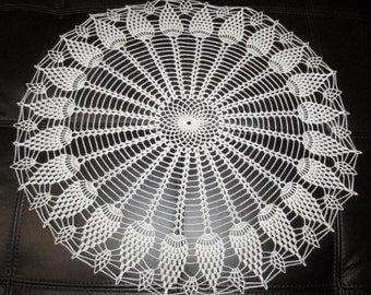 White crochet doily, Sunflower design, 20 inches