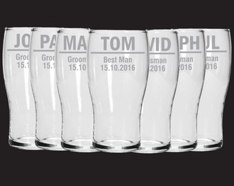 Etched Groomsman wedding glasses - Custom personalised Pint glasses - Groomsman gifts - permanently etched