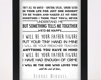 George Michael - Father Figure Pop and Indie Prints Typography Poster Print