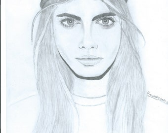print pencil female portraits-hand drawn-traditional-realistic-not traced-free hand