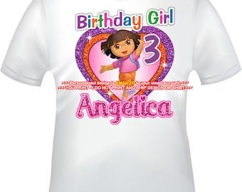 YOU PRINT-Dora the Explorer Birthday Girl iron on, Dora the Explorer iron on, Dora t-shirt decal, Dora Birthday shirt design - DORA