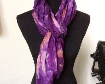 "Prophetic - Silk Scarf - Gifts for Women - Dyed Silk - Christian Gifts - Crinkle Silk 35x72"" called Perfect Love"