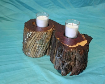 Red cedar candle holder