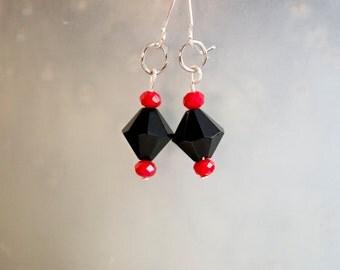 Black and Red Crystal Drop Earrings