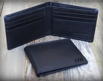 Father's Gift - Minimalist Men's Leather Wallet - Personalized Slim Wallet - Thin Men's Wallet - Slim Wallet - Custom Wallet - Black -7120