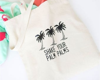 tote bag - reusable - palm tree - grocery bag - beach bag - pool bag - vacation