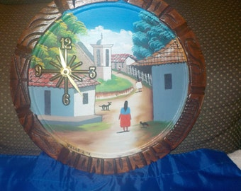 Honduras, wall plaque, upcycled, into a wall clock, handmade.