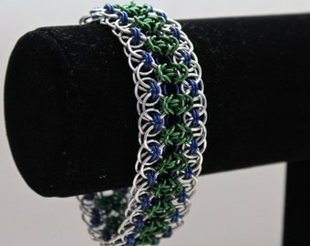 Chainmaille Bracelet, Byzantine Helm Weave, Green, Blue, Silver Chainmaille, Chainmaille Jewelry