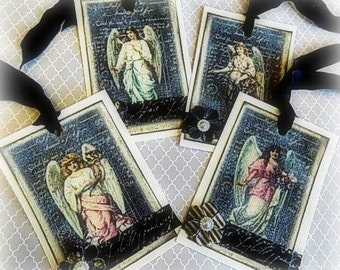 4 Chalkboard Angel Hang Tags - Cottage chic - Gift Tag - Angels