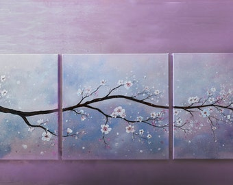 Original White Cherry Blossom Set of 3 Abstract Large Wall Decor Spring Landscape Painting Falling petals Sakura Blossom *Cherry Blossom*