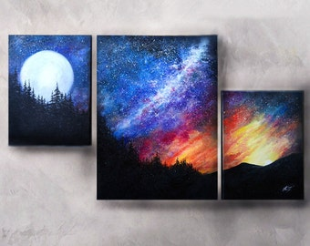 Original Oil Fantasy Space Landscape Painting Set of 3 Large Wall decor Office decor Moon Galaxy Sunset *Galaxy Fantasy*