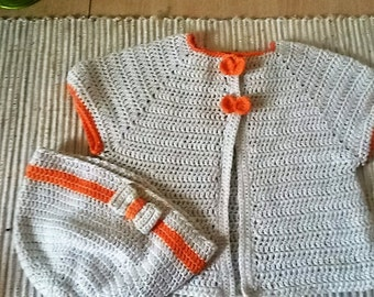 baby crochet cardigan and hat