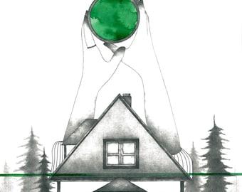 Illustration: Blade ilutrada coffeè A4 - decoration - print - pencil - watercolor - House coffee - green cabin