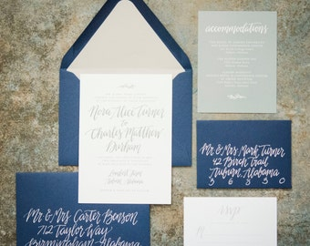Wedding Invitation Suite with Custom Calligraphy Design and Envelope Liner