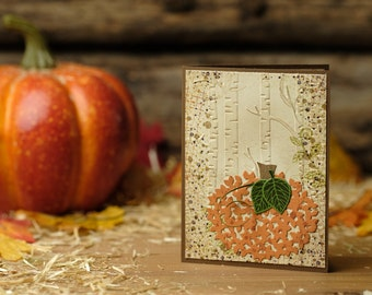 Wooded Harvest Pumpkin Greeting Card: We give thanks for all our blessings - 5.5x4.25 (A2) - Thanksgiving