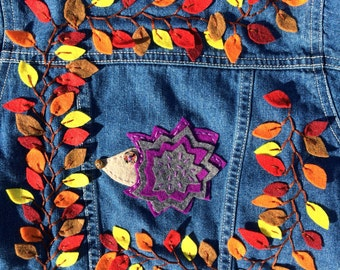 Girls Denim Jacket Purple Porcupine Size 3T