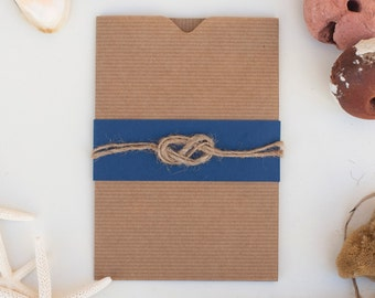 Nautical style wedding invitation, wedding cards announcement with knot