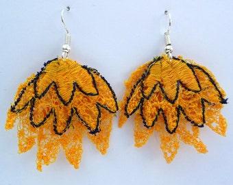Yellow Petal Layered Lace Earrings