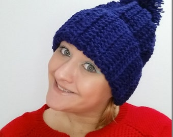 Extra Long, Ribbed, Crocheted Beanie