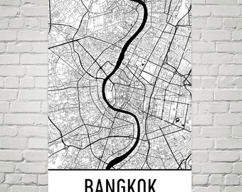 Bangkok Map, Bangkok Art, Bangkok Print, Bangkok Thailand Poster, Bangkok Wall Art, Bangkok Gift, Map of Bangkok, Bangkok Decor, Map Art