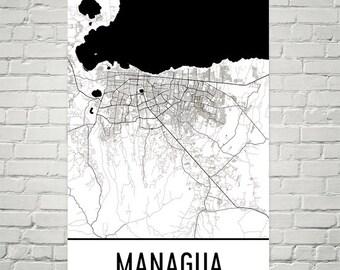 Managua Map, Managua Art, Managua Print, Managua Nicaragua Poster, Managua Wall Art, Managua Gift, Managua Map Art, Managua Decor, Art Print