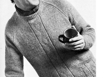 mens sweater knitting pattern pdf mens DK jumper with pockets diamond pattern Vintage 70s 36-42 inch DK light worsted 8ply Instant download