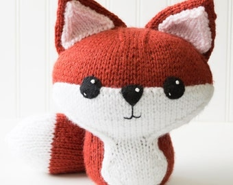 Fox Hand Knit Plush Toy - Soft Toy - Stuffed Animal - Fox Stuffed Toy - Kawaii Plush - Woodland Nursery - Baby Shower Gift - Nursery Decor