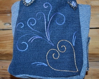 Small Denim Bag, Handmade Denim Tote, Child's Denim Bag, Small Hand-emroidered Denim Bag