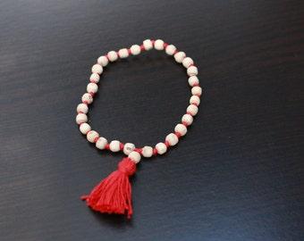 Handmade Tulsi Beads wristband bracelet/ Fairtraid tulsi bracelet wristband