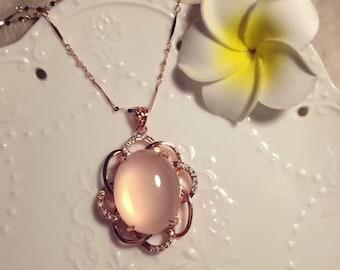 Natural Hibiscus Pink Crystal Pendant /  天然芙蓉晶吊坠