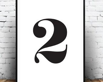 Number 2 Print, Monochrome, Typography, Scandinavian, Black And White, Minimalist, Digital Download, Printable Wall Art, Affiche Numero 2