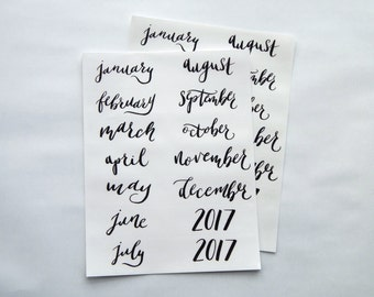 14 - Hand Lettered Clear 12 Month Planner or Bullet Journal Stickers Black Ink Transparent Glossy Monthly Stickers to Cover Full Year (14A)