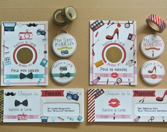 Godfather godmother theme Girly and mustache gift sets