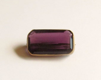 Small, Purple Glass, Antique Brooch