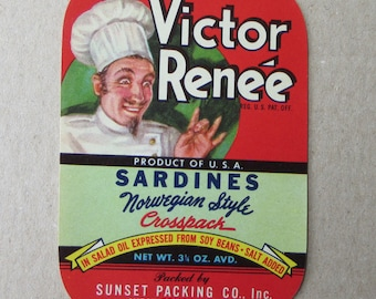 Vintage Paper Label Sardine Can Label Vintage Ephemera #37