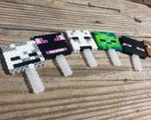 6 Handmade Pixel Face Cupcake Toppers // Boys Video Game Party Favor // Inspired by Minecraft Lanyard // Game Themed Birthday Favor