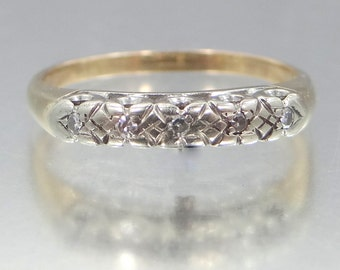 14k White and Yellow Gold 5 Diamond Stacking Ring Wedding Band