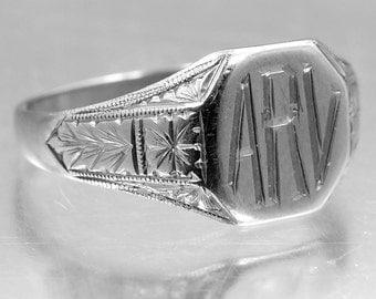 """14k Solid White Gold Art Deco Signet Ring """"ARV"""""""