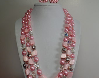 1950's Bead Set with Shades of Pink
