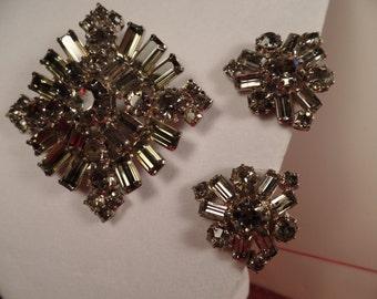 "1950's ""Black Diamond"" Rhinestone Set-Unsigned Beauty"
