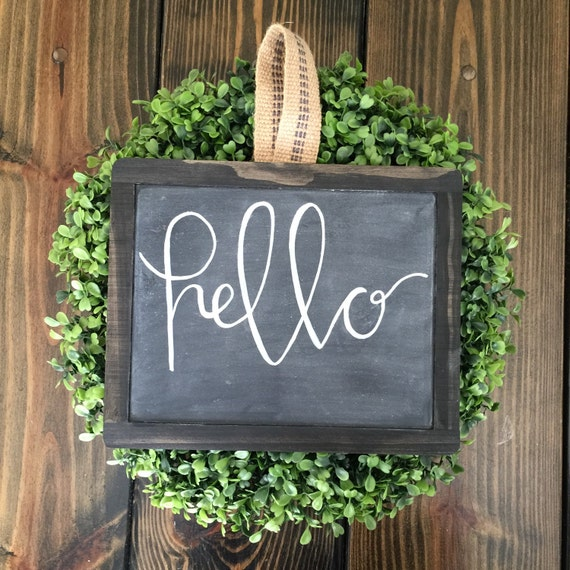Hello Sign Framed Chalkboard Painted Farmhouse Shabby by AmyNellys