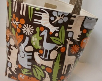 Zoo Animals Fabric Reusable Lunch Bag, Lunch Sack, Reusable Bag, Picnic Bag, Boat Bag