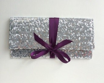Silver sequin clutch with plum purple bow// Silver clutch formal bridesmaids clutch