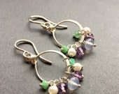 SALE Water Lillies, Chrysoprase, Amethyst, Natural Chalcedony, Freshwater Pearl, Sterling Silver Gemstone Earrings, erinelizabeth